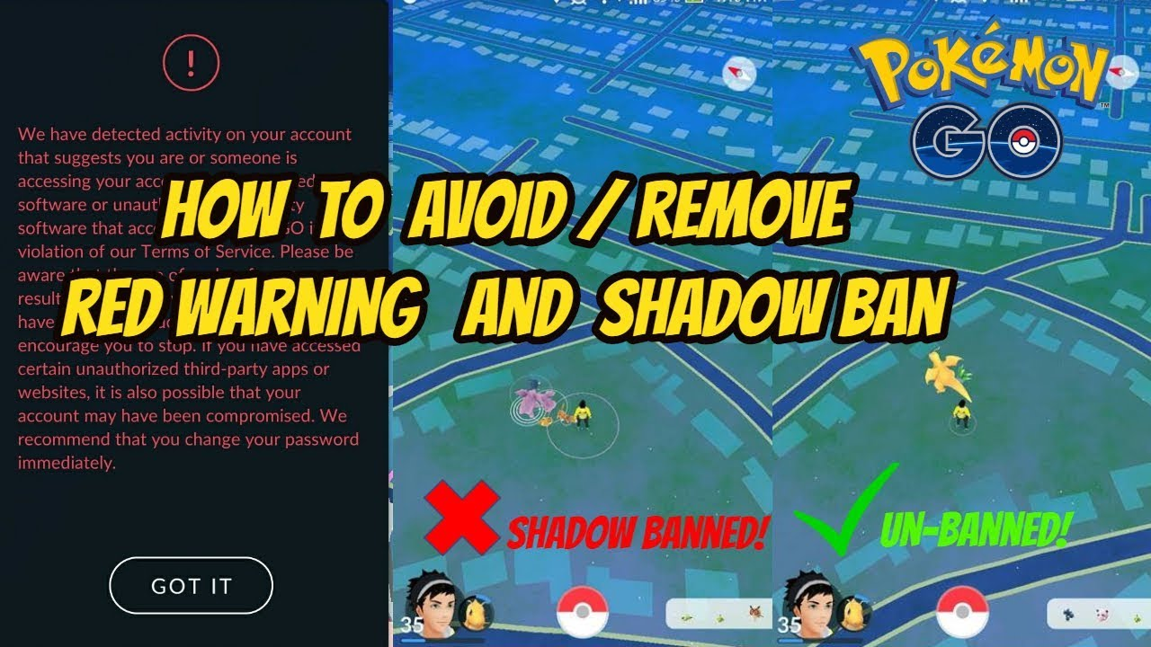 How To Avoid Remove Shadow Ban And Red Warning In Pokemon
