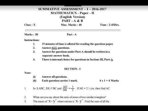 Summative assessment sa 1 maths question paper 2 for class x summative assessment sa 1 maths question paper 2 for class x10th sa 1 10th maths paper 2017 malvernweather Images