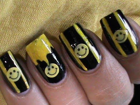 cute smiley easy nail design  youtube