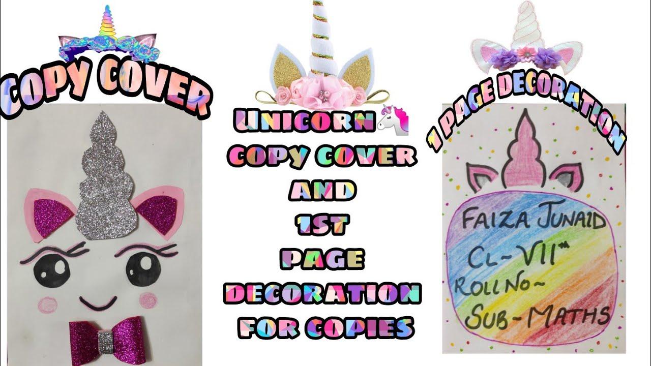 Unicorn Bookcover Copy 1st Page Decoration Unicorn School Supplies Cute School Supplies Youtube