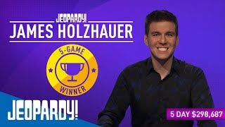 James Holzhauer's Streak: 5 Wins! | JEOPARDY!