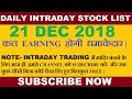 #intradaytrading #nifty50 Daily Intraday Trading Stock List 21 DECEMBER  2018 || INTRADAY TRADING ||