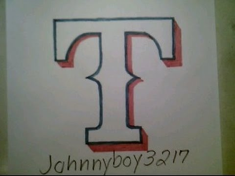How To Draw Texas Rangers Logo Sign Symbol Emblem MLB Doodle Sketch Step By Step Tutorial
