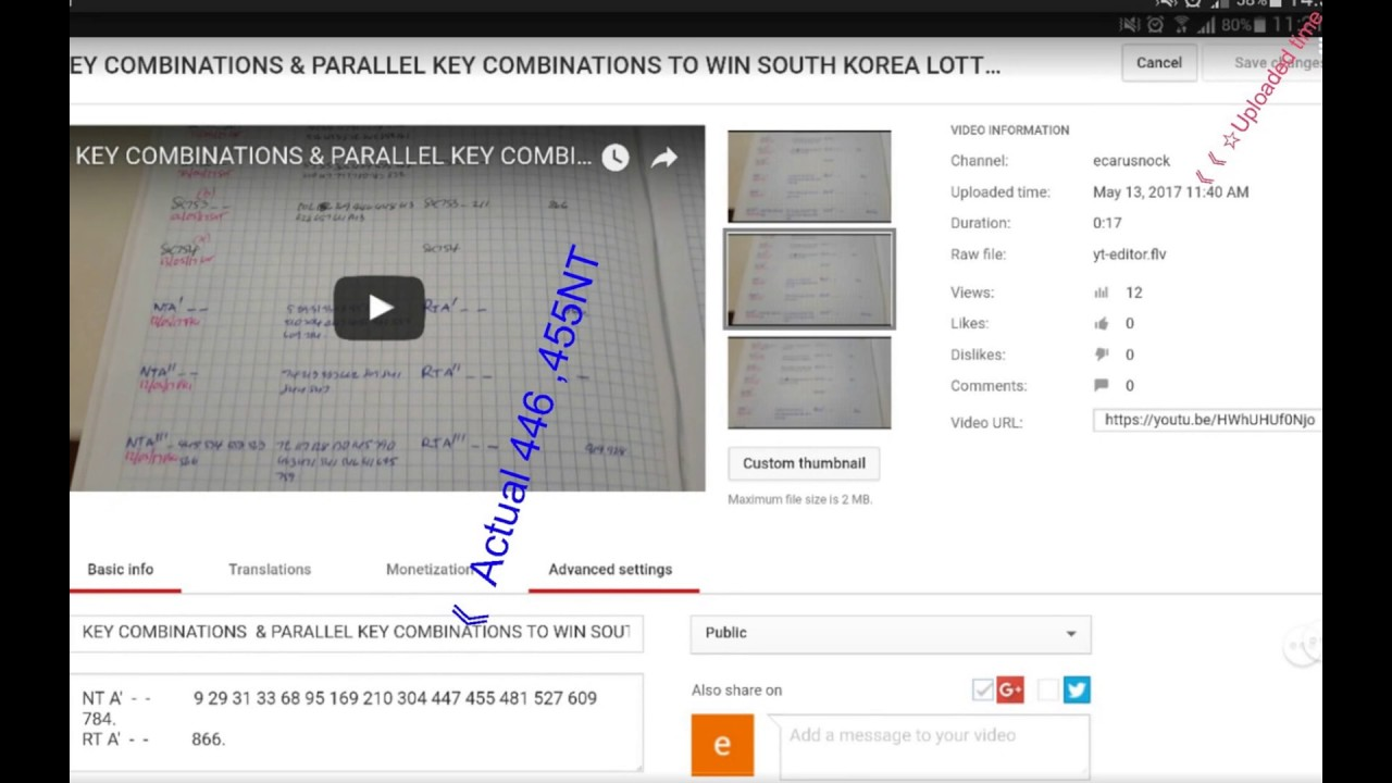 review Key Combinations & Parallel Key Combinations to win South Korea  Lotto on Saturday 13 05 17
