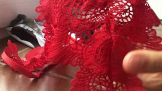 Aliexpress černá a červ,podprsenka krajka, women red and black sexy floral sheer lace bra