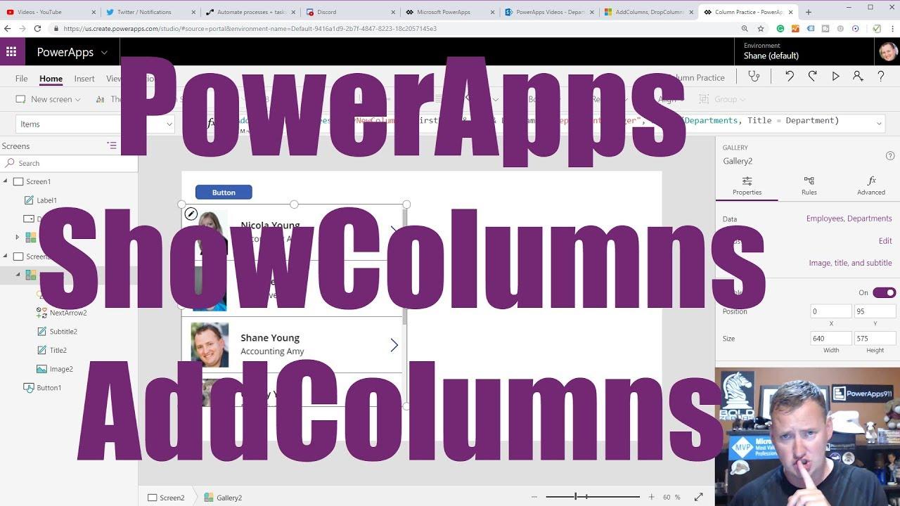 PowerApps AddColumns ShowColumns