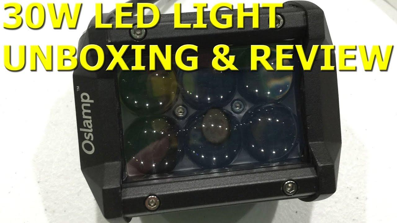 "oslamp 4\"" 30w led work light unboxing \u0026 review in 4k ultrahd youtube"