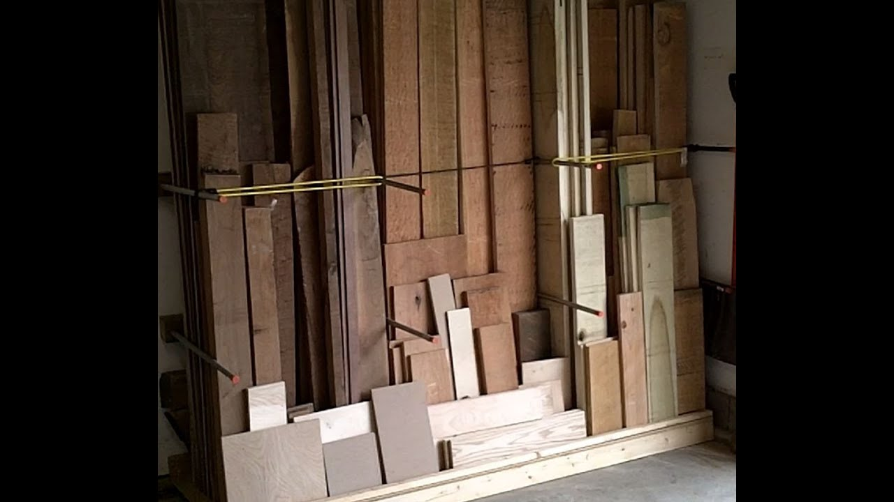 Lumber rack youtube for Vertical lumber storage rack