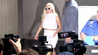 Newly Engaged Lady Gaga Wears Wedding White, Causes Chaos At LAX