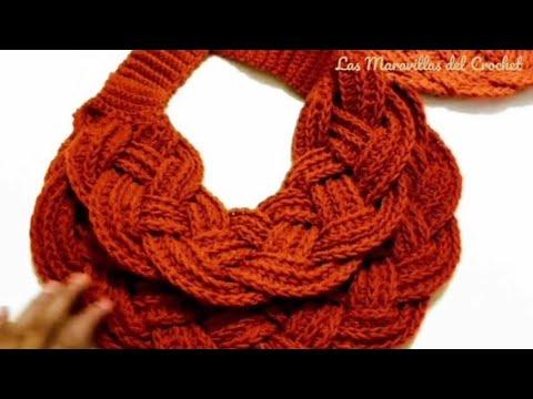 🍁Bufanda Trenzada A Crochet (Ganchillo) - YouTube fbdda91a9cc