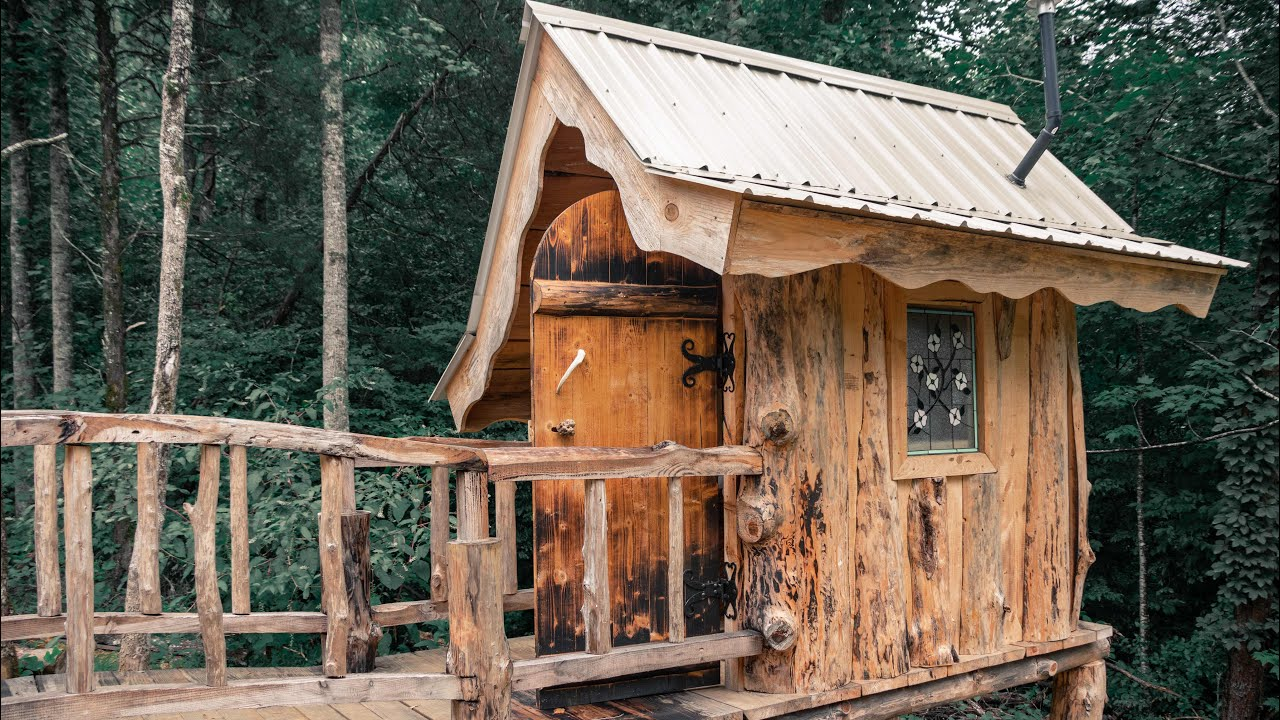 TIMBER FRAME CABIN OFF GRID HOMESTEAD   CANNING, INTERIOR WALLS & STAINED GLASS FOR THE TOILET