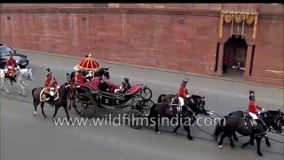 Pranab Mukherjee arrives in a buggy for the Beating Retreat at Vijay Chowk
