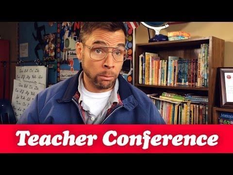 DAD AT A PARENT-TEACHER CONFERENCE