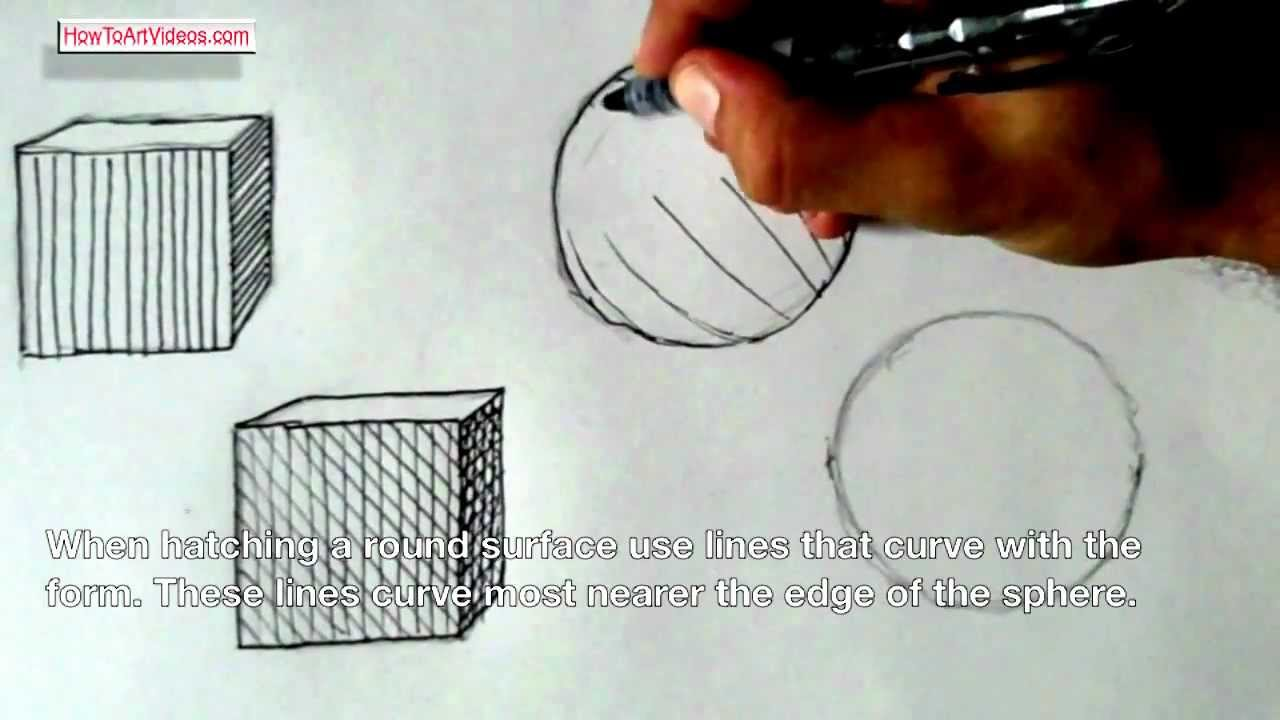 Using Lines In Drawing : Hatching and cross using line to create value youtube