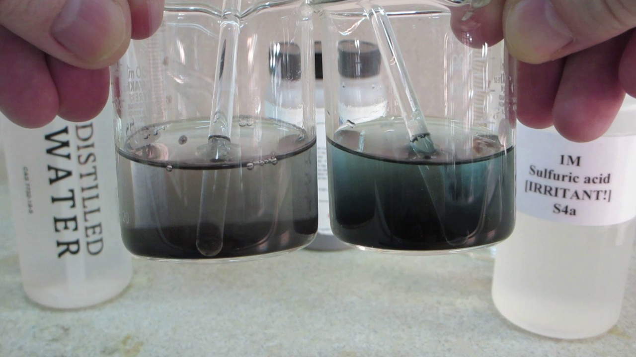 mixing copper oxide with distilled water and sulfuric acid