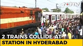Hyderabad Head-On Collision Caught On Camera, Train Lifted Off Tracks