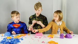 Playing with Mad Mattr Kinetic Sand and Brick Maker
