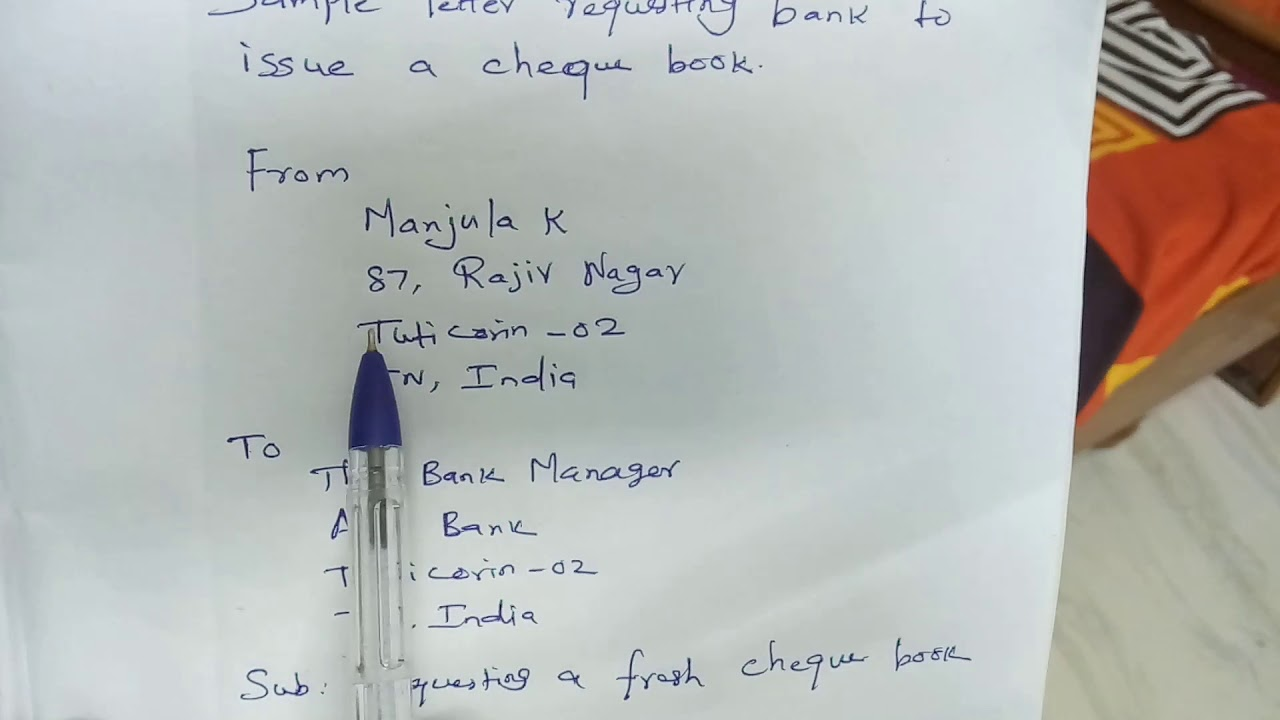Sample Letter To Bank Requesting A Cheque Book