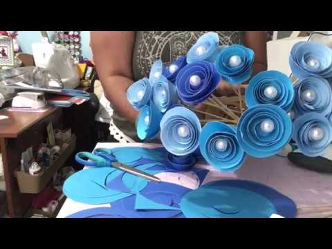 Easy Paper Flowers DIY Centerpiece on a Budget for Baby Boy Shower