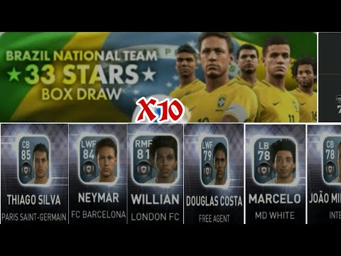 """PES 17 mobile: 🇧🇷Brazil National Team """"33 stars"""" Box Draw X10 Pack opening. All players Obtain."""