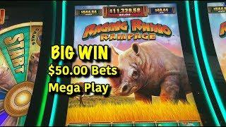 RAGING RHINO RAMPAGE - New Slot, BIG WIN + $50 Mega Play Bets!