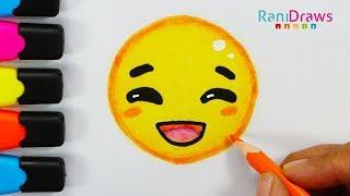 Cómo dibujar al Emoji Feliz - How to Draw Happy Emoji - paso a paso fácil