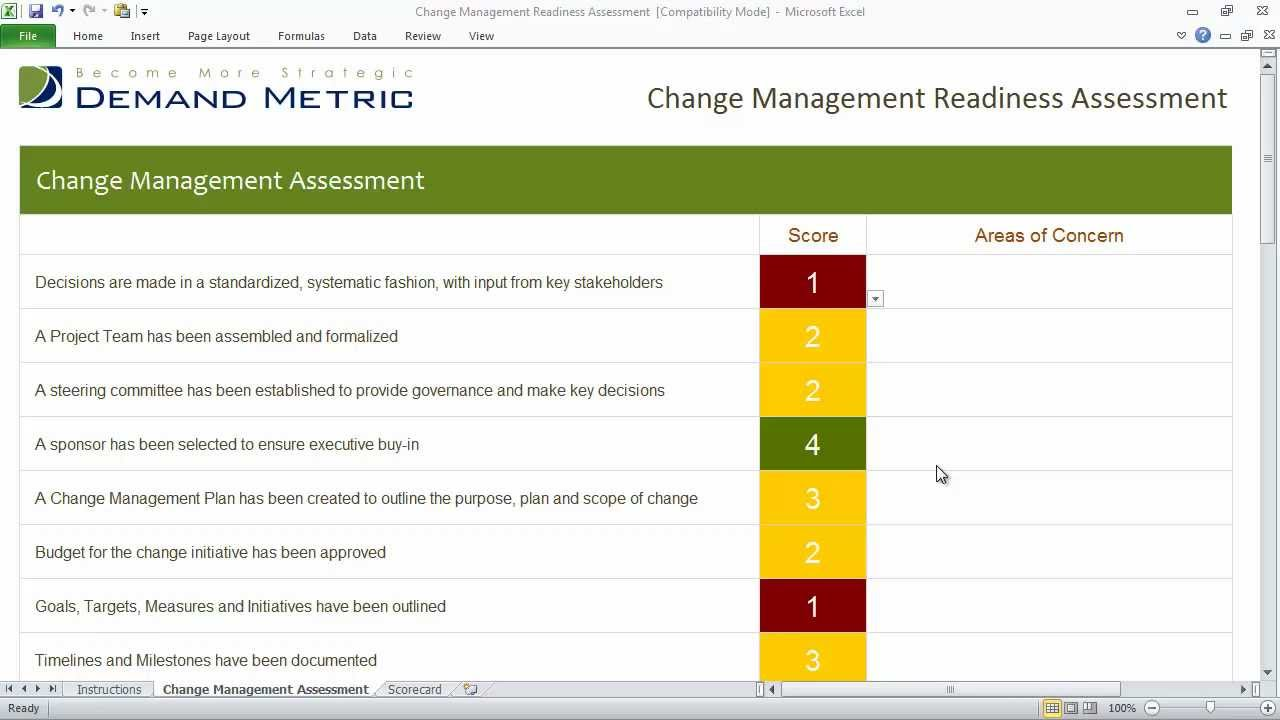 Change Management Plan Template Excel