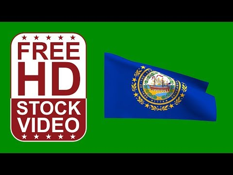 FREE HD video backgrounds – USA New Hampshire State flag waving on green screen 3D animation
