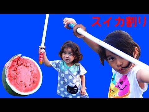 2016年夏休み直前!でんすけスイカ割り♪家族でわいわいスイカ割りしました☆himawari-CH