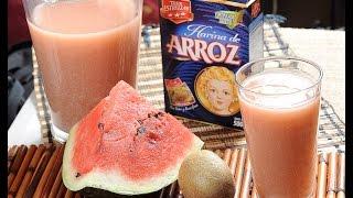 Agua De Horchata De Sandía Y Kiwi Con Harina De Arroz