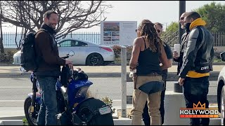 Keanu Reeves talking to fans about his 'ARCH Motorcycle' for 3 Minutes Straight in Malibu