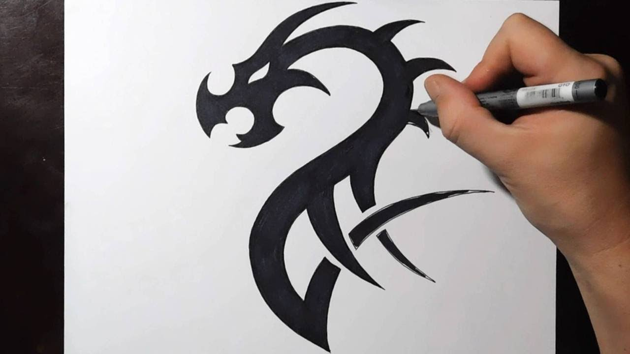 Simple Tribal Dragon Tattoos Designs