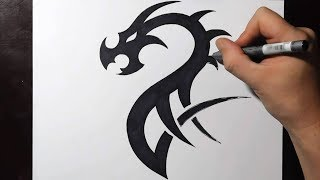 How to Draw a Simple Tribal Dragon Tattoo Design