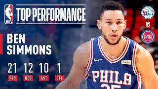 Ben Simmons Records First Career Triple Double | 21 Points, 12 Rebounds, 10 Assists thumbnail