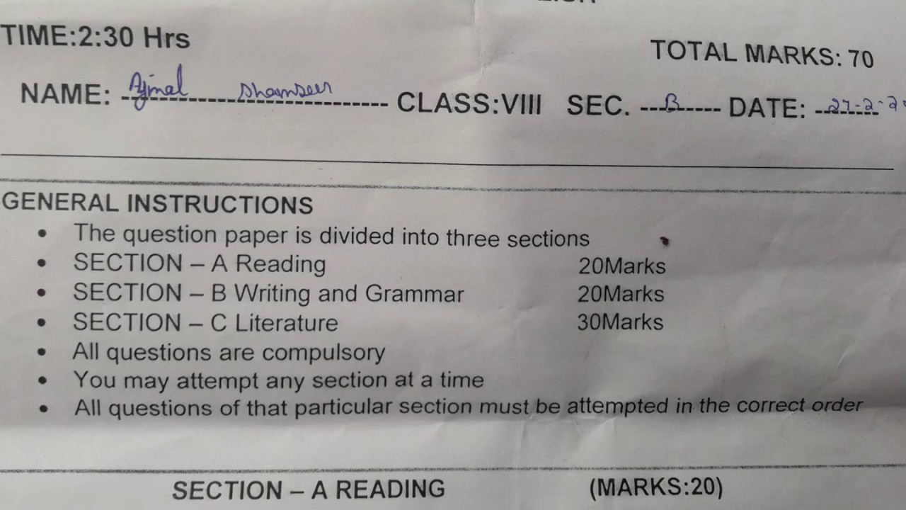 Cbse sample paper for class 8 english with solutions mock paper-1.