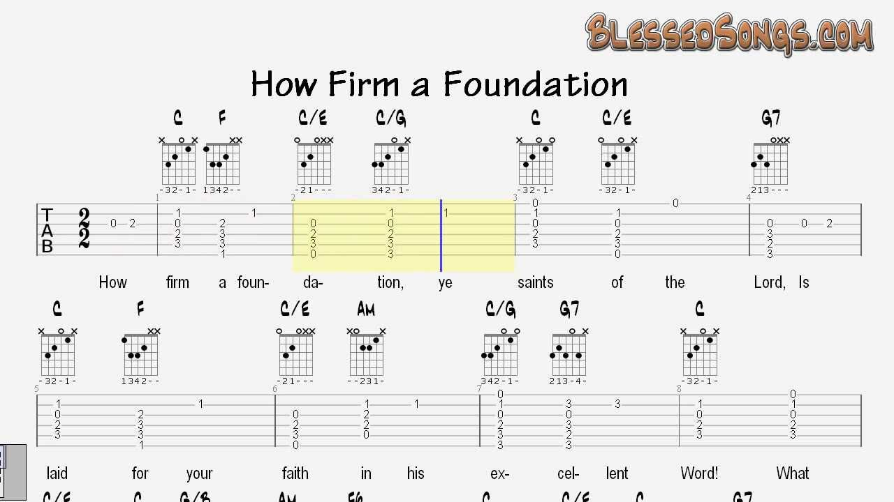 Learn To Play Guitar Hymns How Firm A Foundation Tablature And
