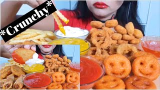 **FRIED FOOD ASMR** (SMILEYS,FRENCH FRIES,SPRINGROLL,CHICKEN NUGGETS) *EATING SOUNDS* NO TALKING