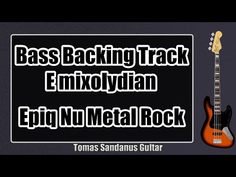 Bass Backing Track in E   Epic Nu metal Heavy Rock   Chords   Scale   BPM