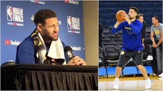klay-thompson-testing-out-his-hamstring-reveals-if-he-thinks-he-ll-play-in-game-3
