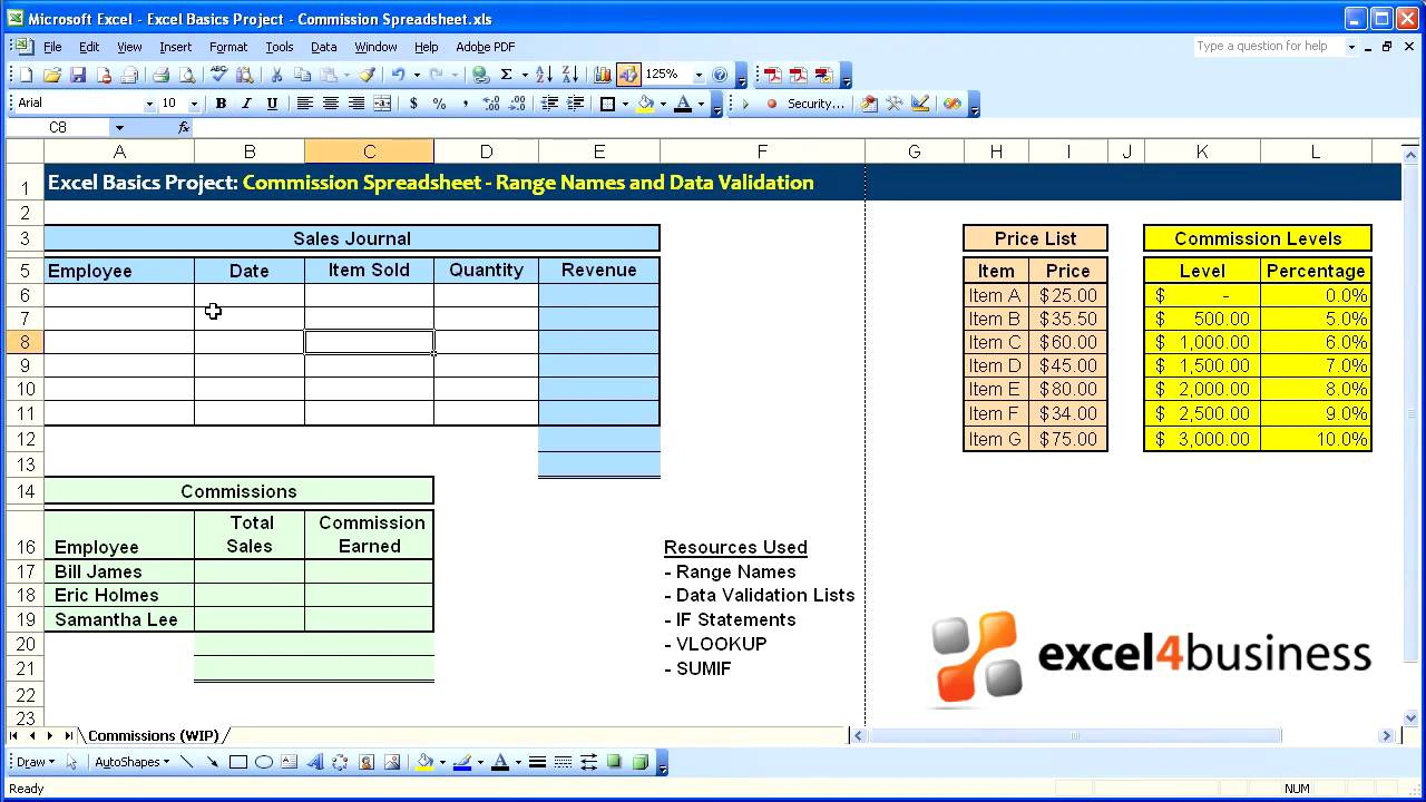 Excel Basics -016- Project - Commission Spreadsheet - Range Names ...