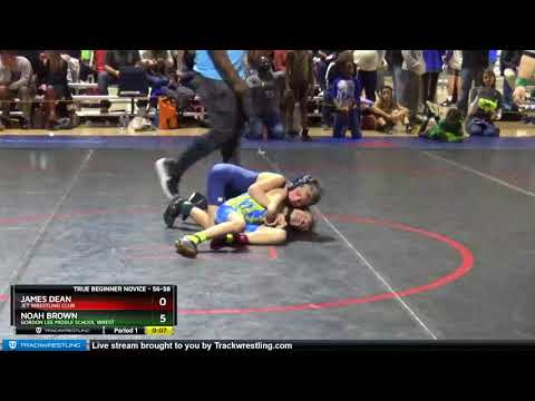 True Beginner Novice 56-58 Noah Brown Gordon Lee Middle School Wrest Vs James Dean Jet Wrestling C