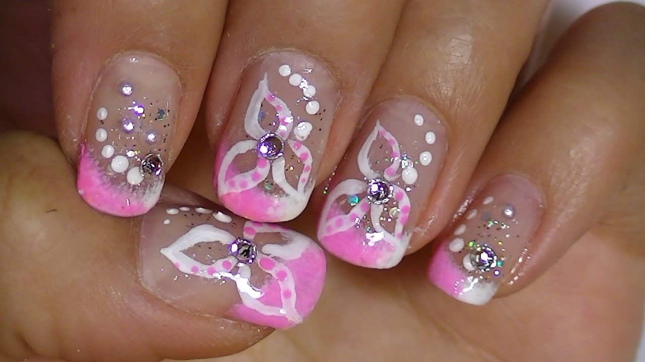 Delicate white flower pink nail art design video tutorial youtube prinsesfo Choice Image