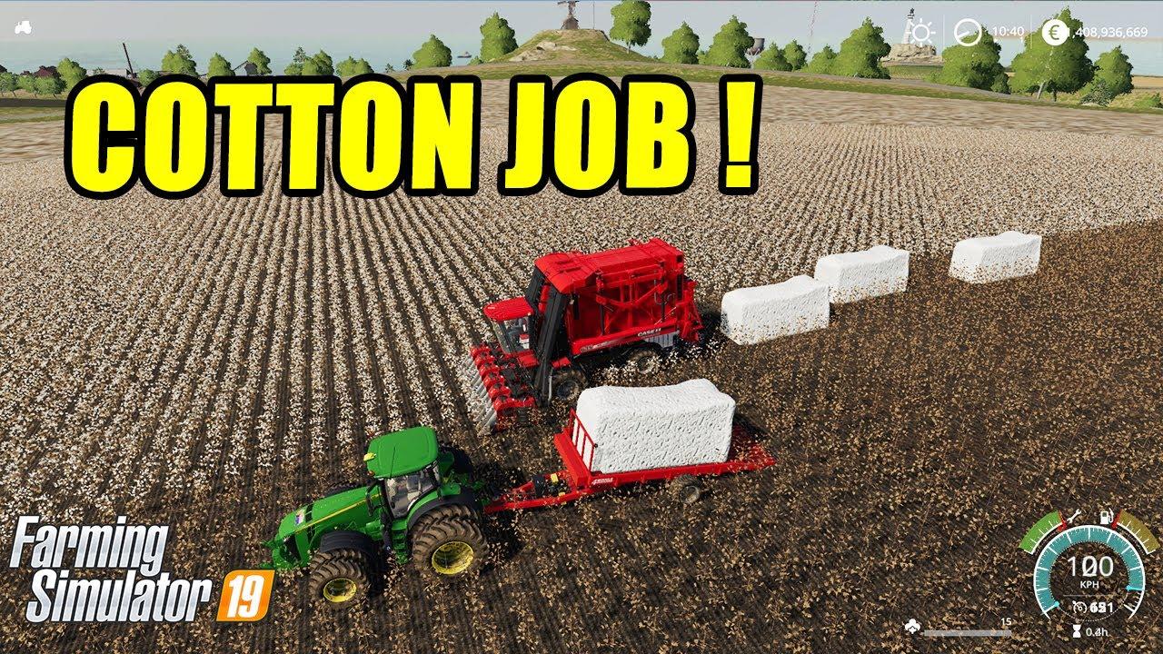 Farming Simulator 19   Cotton Job! Giant Cotton Bales Making & Transporting  & Selling !!!