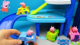 Peppa Pig Parking Garage Toy Unboxing and Playing