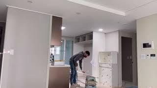 씽크대  비스포크  키친핏 냉장고  설치영상  고덕