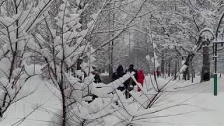 Москва завалена снегом. Настоящая зима в Москве.