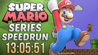 Super Mario Series Speedrun in 13:05:51 (Super Mario Bros.)