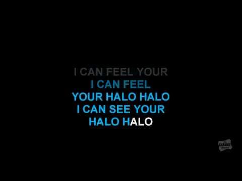 Halo karaoke video in the style of Beyoncé karaoke video with lyrics (no lead vocal)