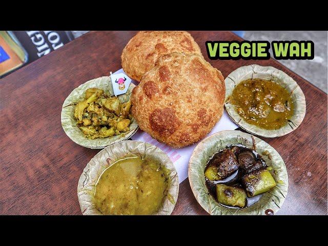 Rudra Rupali Sweet Shop - serving pooriyan with 3 sabji   Ludhiana Food   Veggie Wah