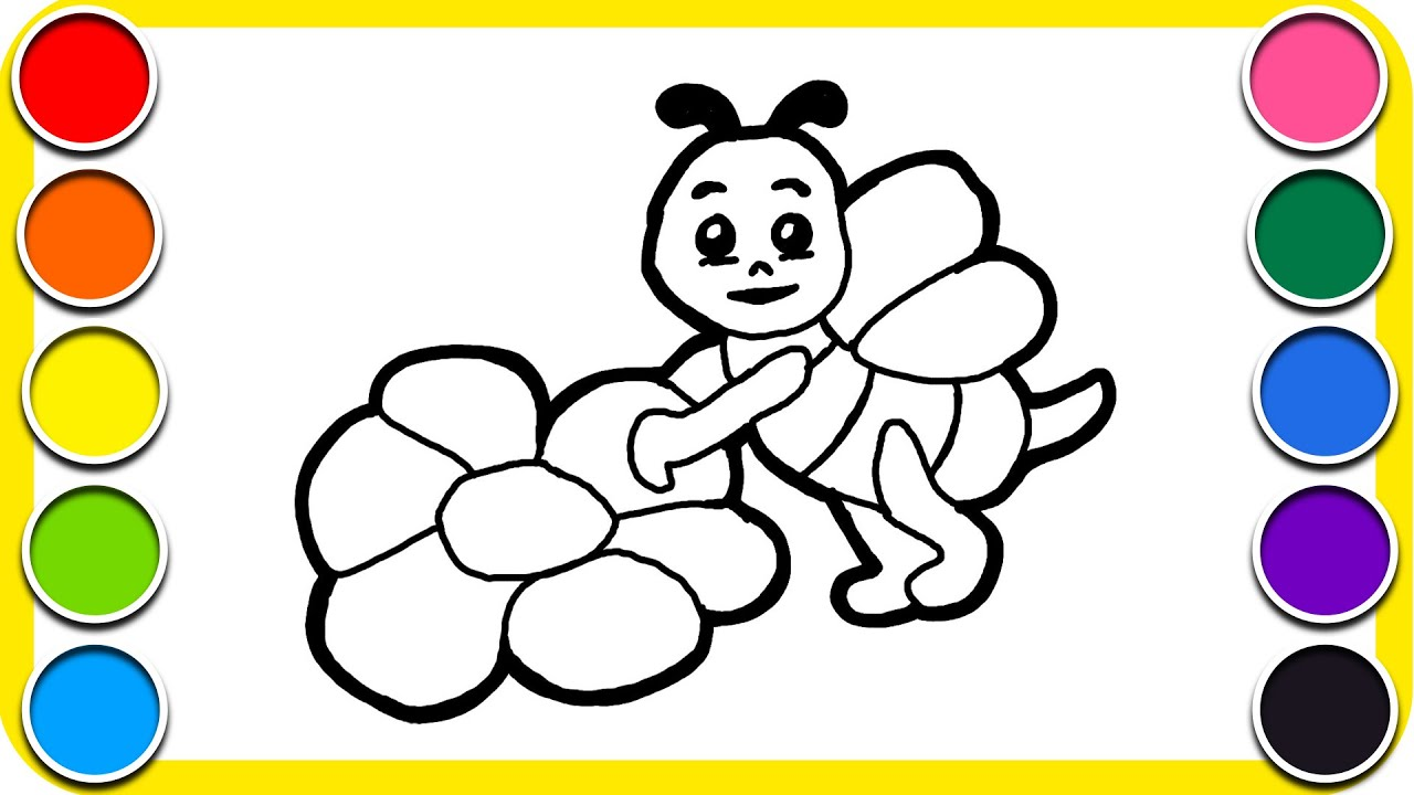 Lukis Gambar Lebah Dan Bunga Mewarna Kartun Kanak Kanak